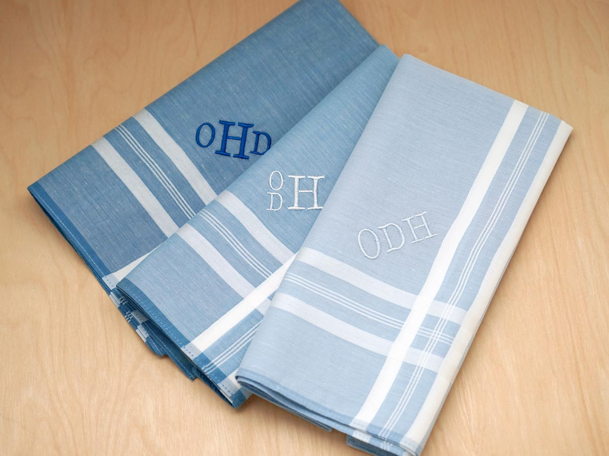 Set of 3 Mixed Blues Monogrammed Mens Handkerchiefs - Font R