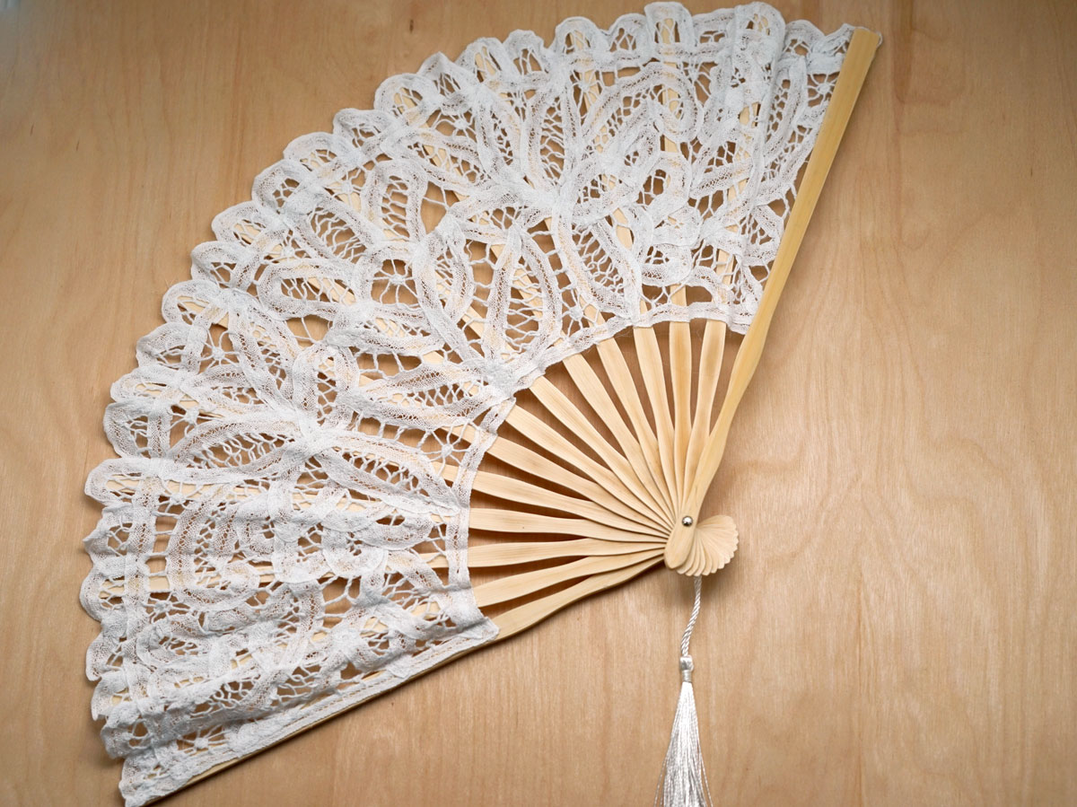 Large White Wedding Battenburg Lace Fan