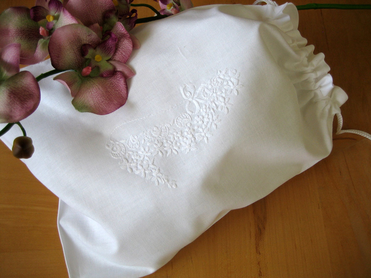 White Cotton Shoe Bag with White Embroidery