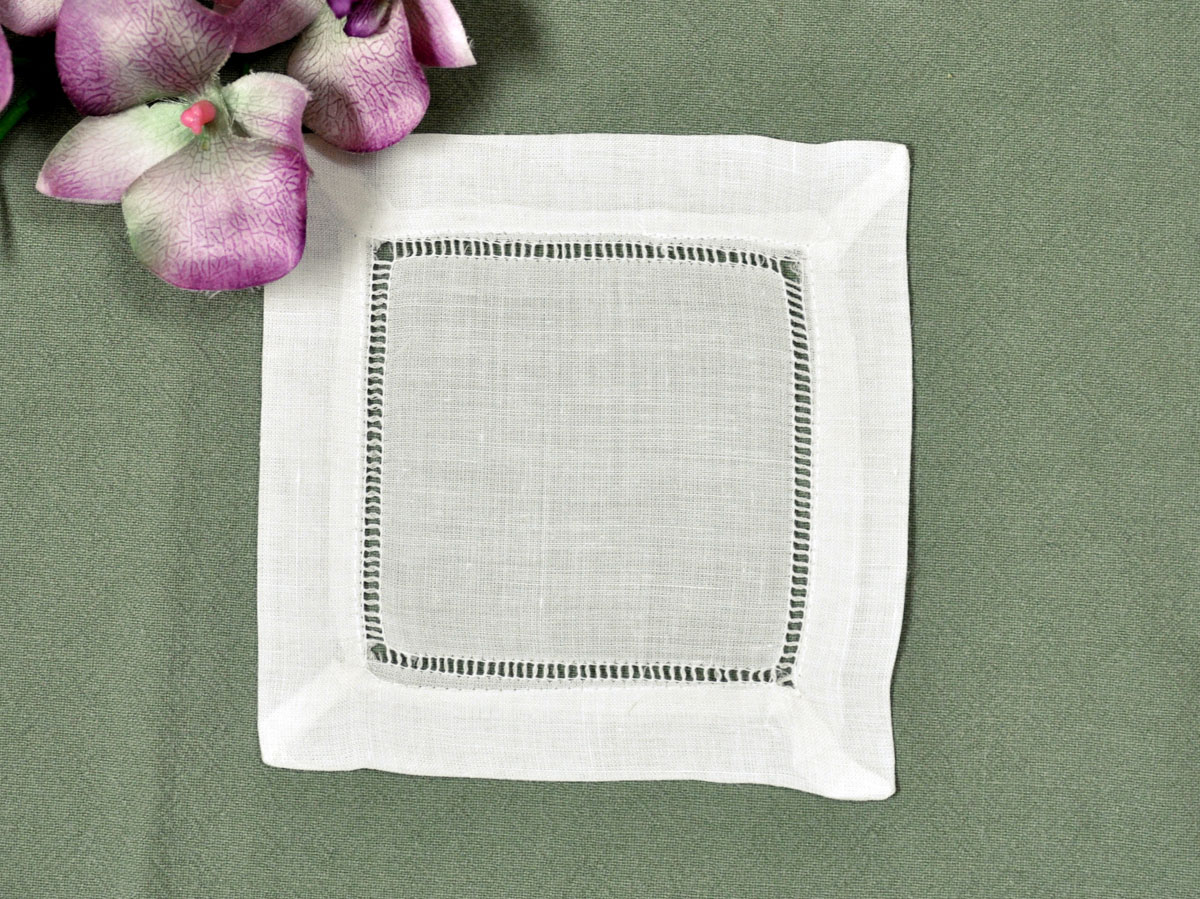 1 Dozen Ivory Hemstitched Linen Cocktail Napkins