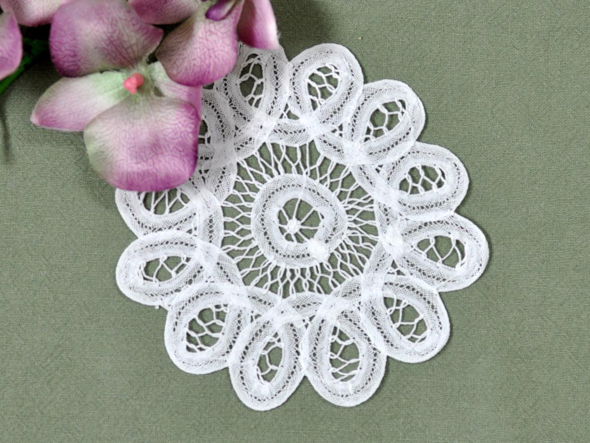 1 Dozen White Round Battenburg Lace Cocktail Napkins