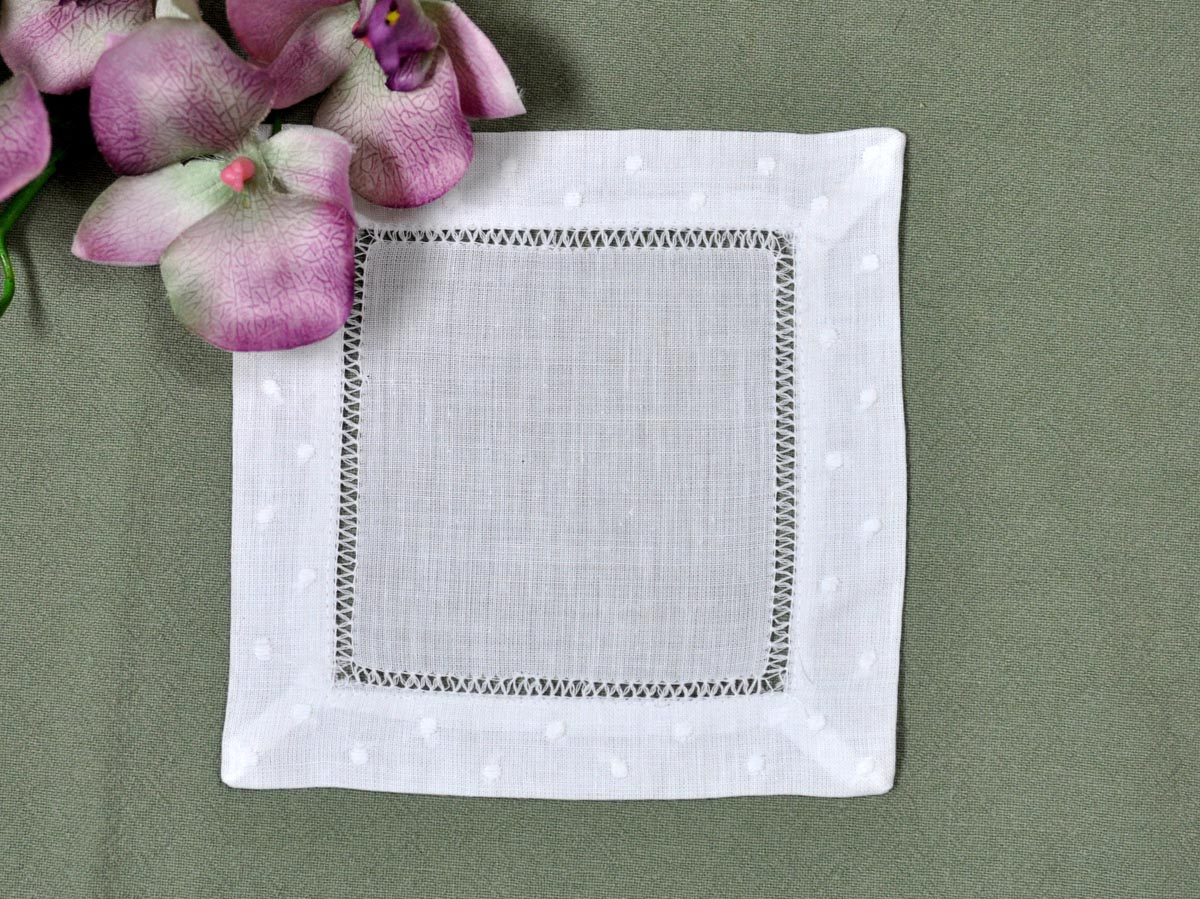 1 Dozen White Linen Cocktail Napkins With a Dot Border