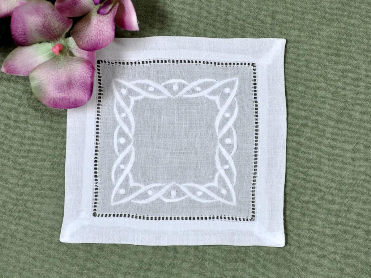 1 Dozen White Linen Cocktail Napkins with a Wave Design