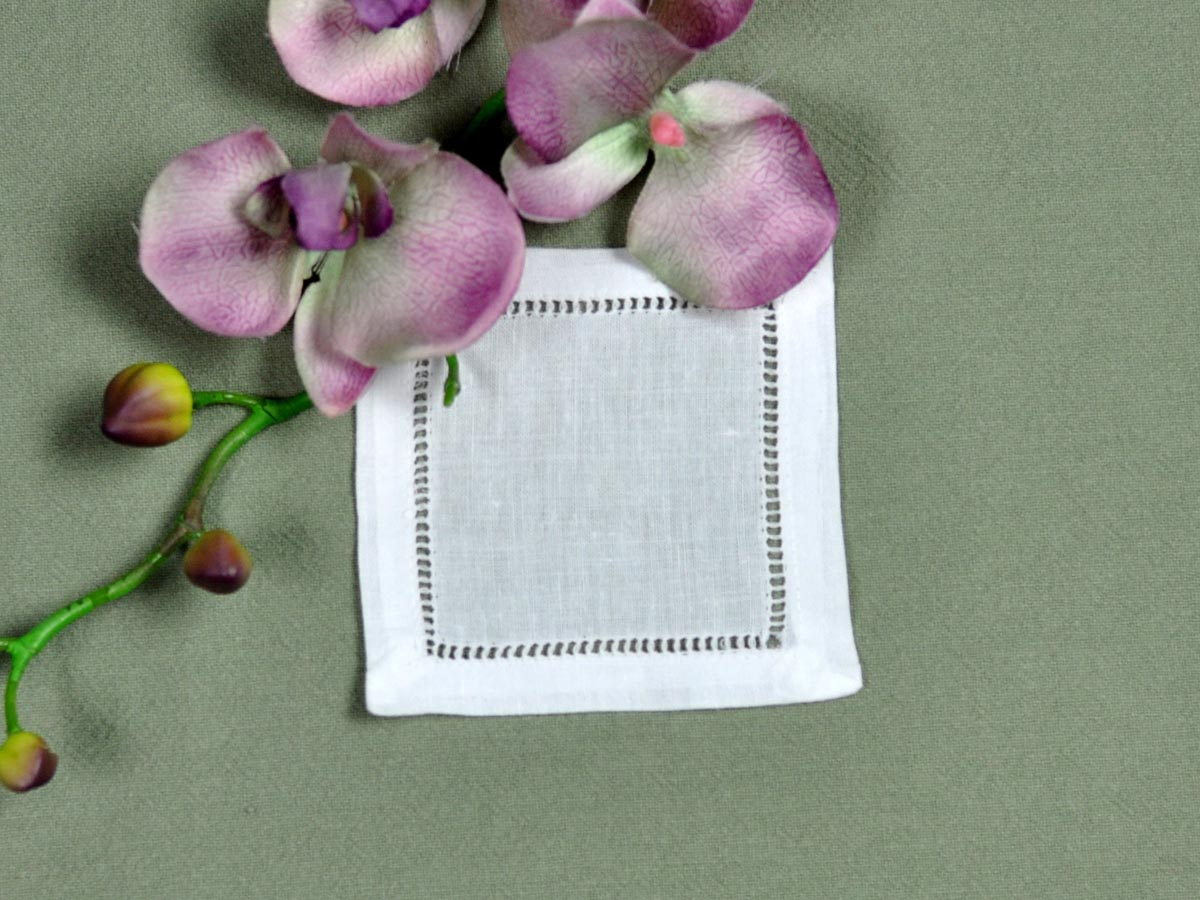 1 Dozen Small White Hemstitched Linen Cocktail Napkins 4 in