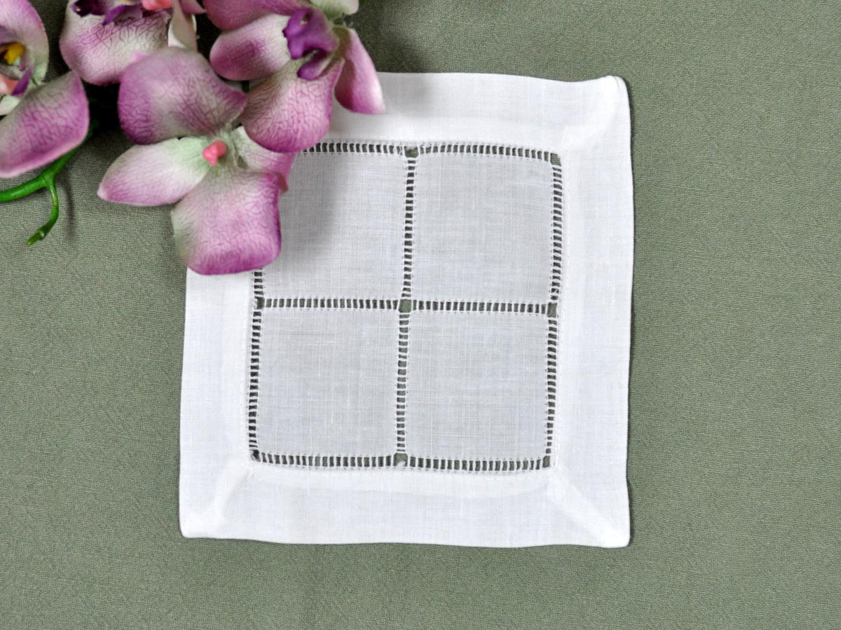 1 Dozen White Square Hemstitched Linen Cocktail Napkins