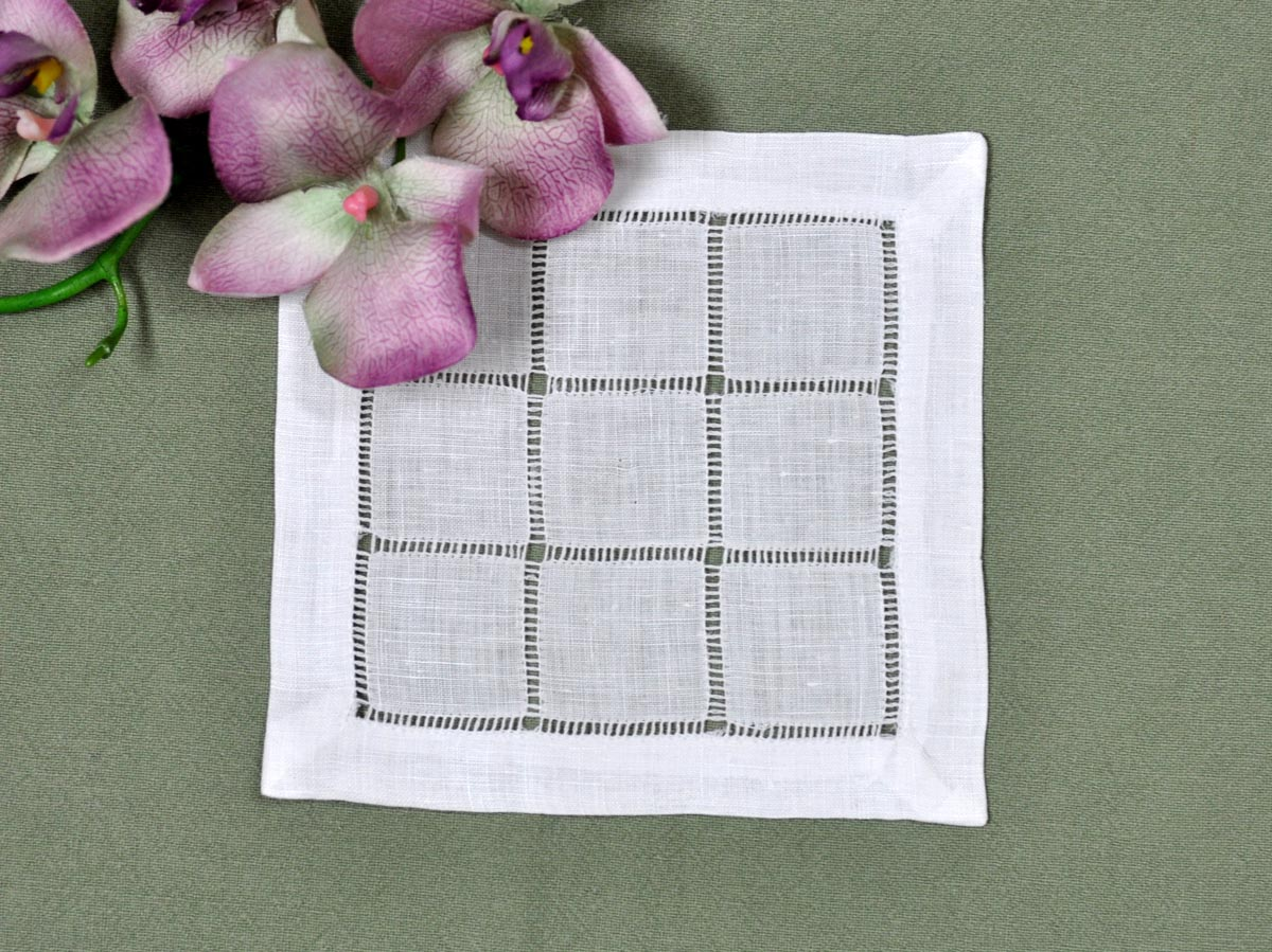 1 Dozen White Grid Hemstitched Linen Cocktail Napkins
