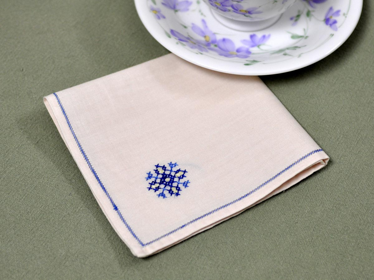 1 Dozen Tea Napkins With A Blue Snowflake Cross Stitch Design