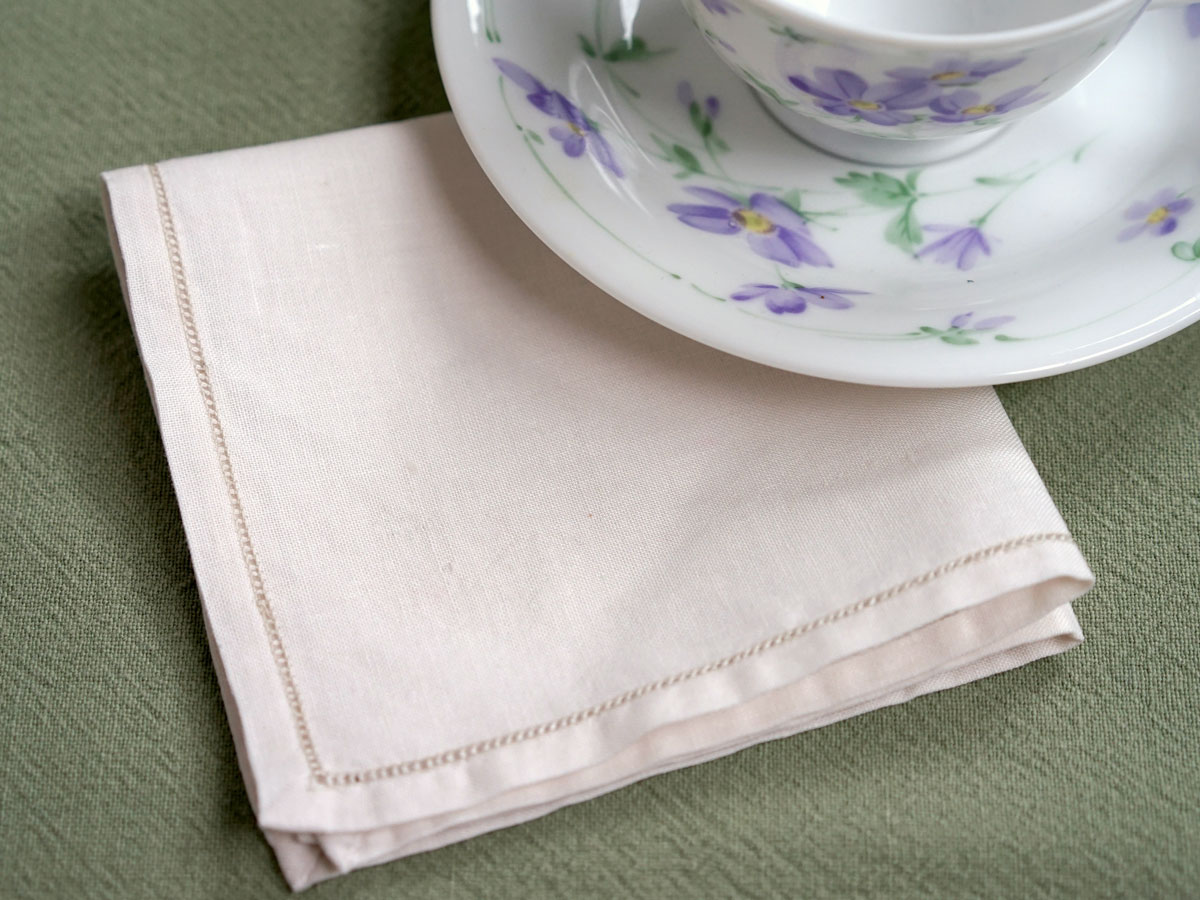 1 Dozen Ecru Thin Hemstitched Tea Napkins