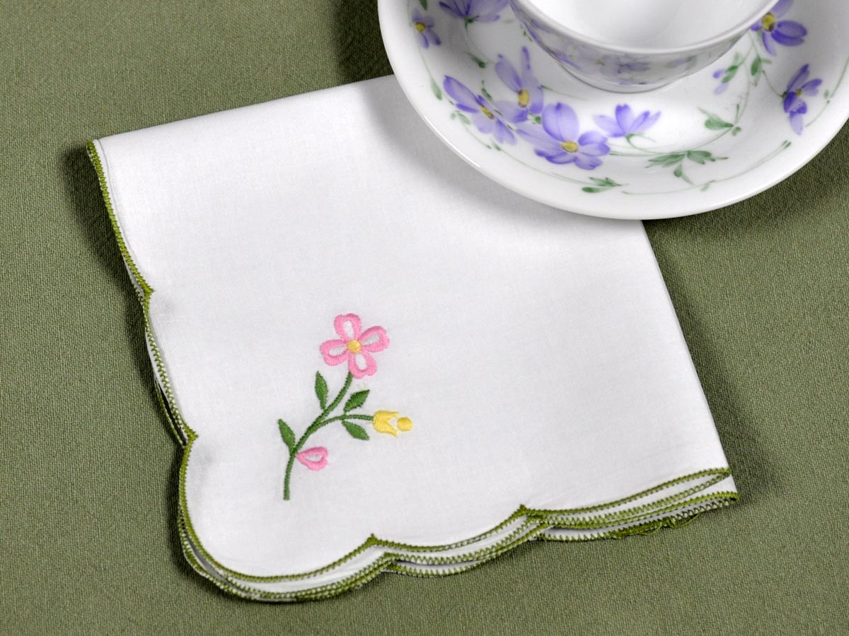 1 Dozen Embroidered Floral Tea Napkins with Sage Edging
