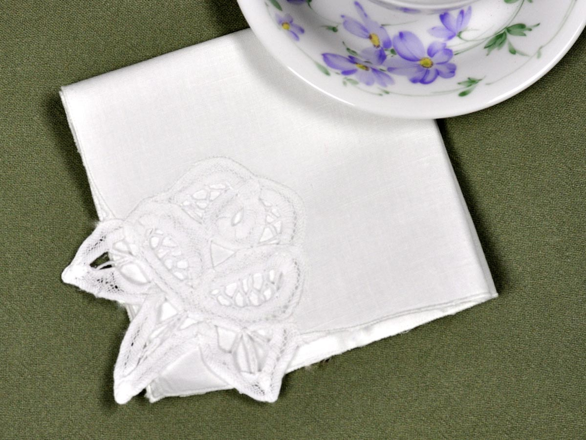 1 Dozen Floral Linen Battenburg Lace Tea Napkins