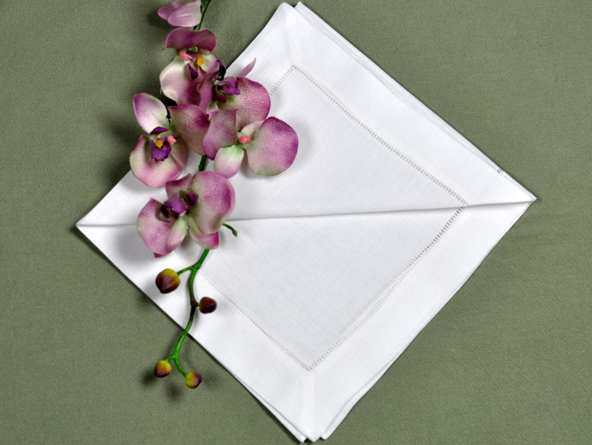 1 Dozen White Hemstitched Linen Dinner Napkins 20 Inch