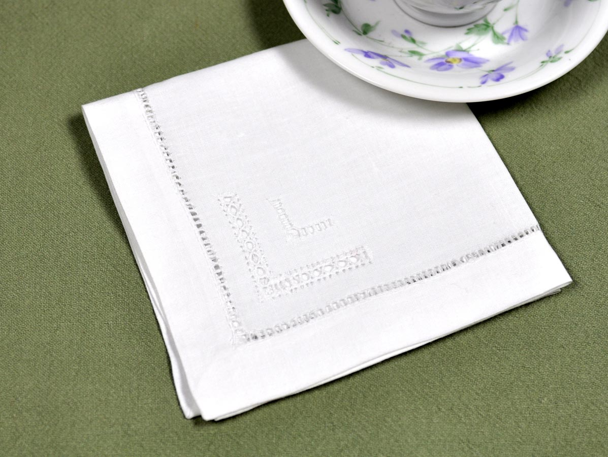 1 Dozen White Hemstitched and Drawnwork Tea Napkins