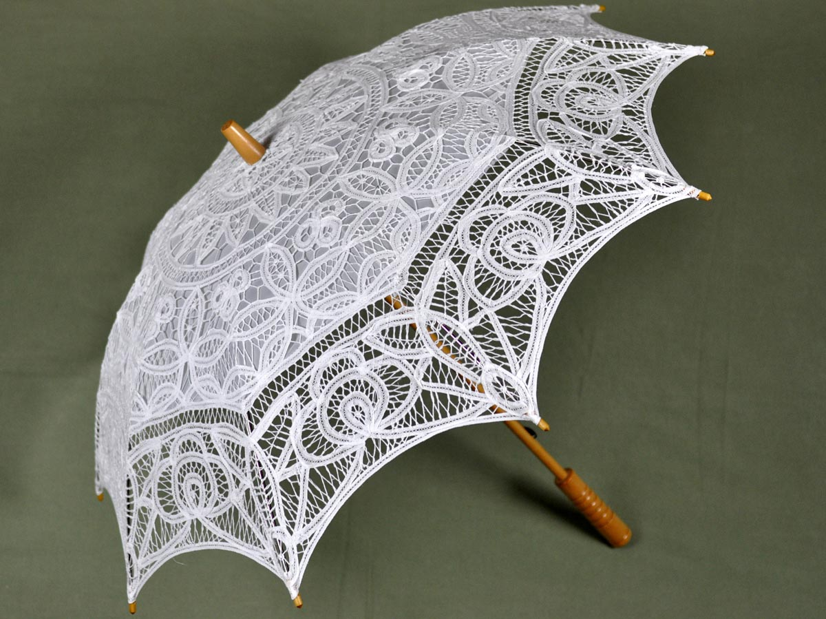 White Wedding Battenburg Lace Parasol