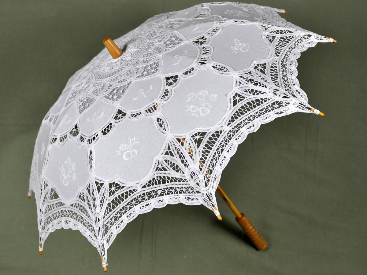 White Victorian Inspired Battenburg Lace Parasol