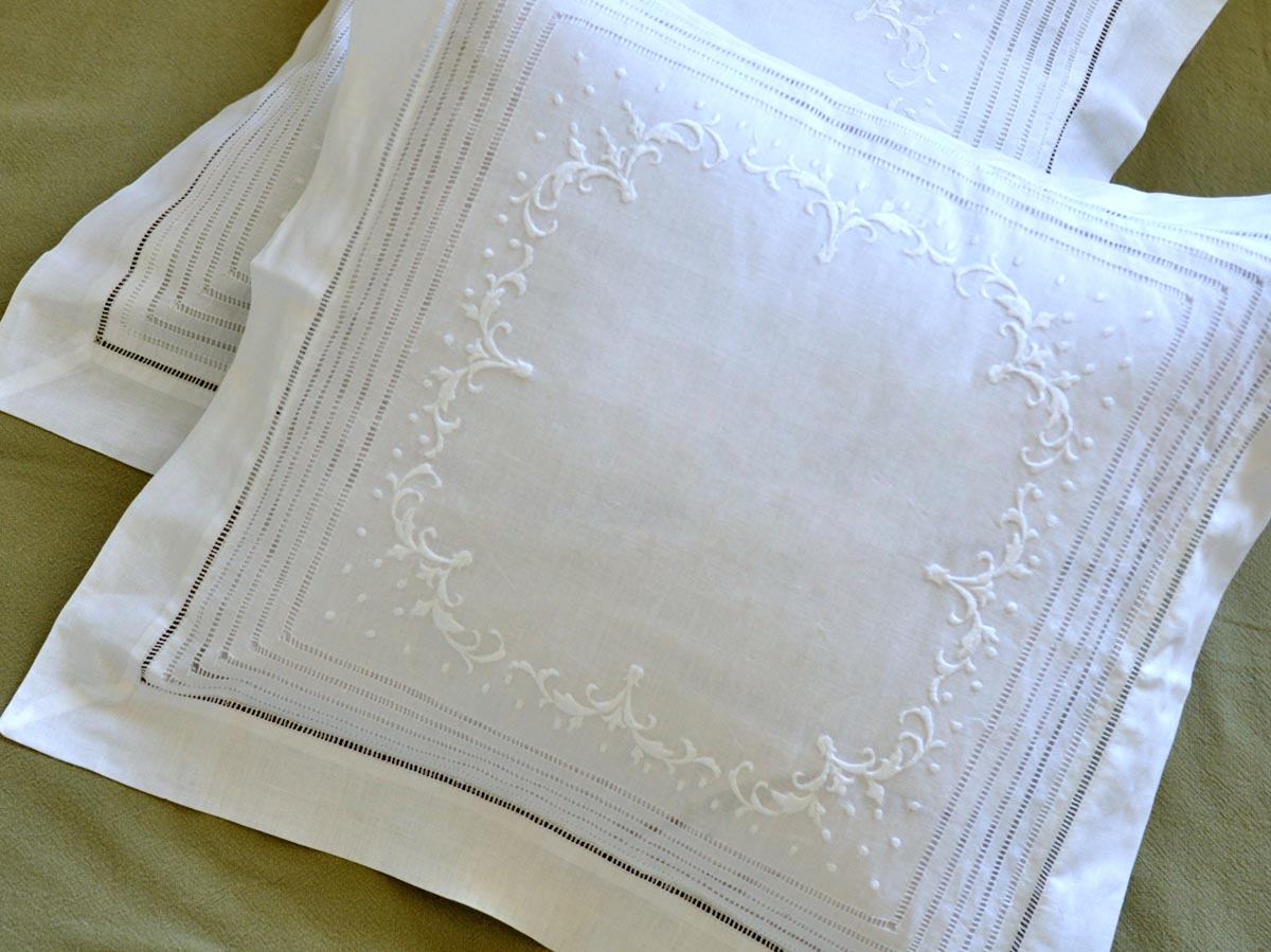 White Linen Throw Pillow : Pair of White Linen Throw Pillow Covers with Scroll Embroidery