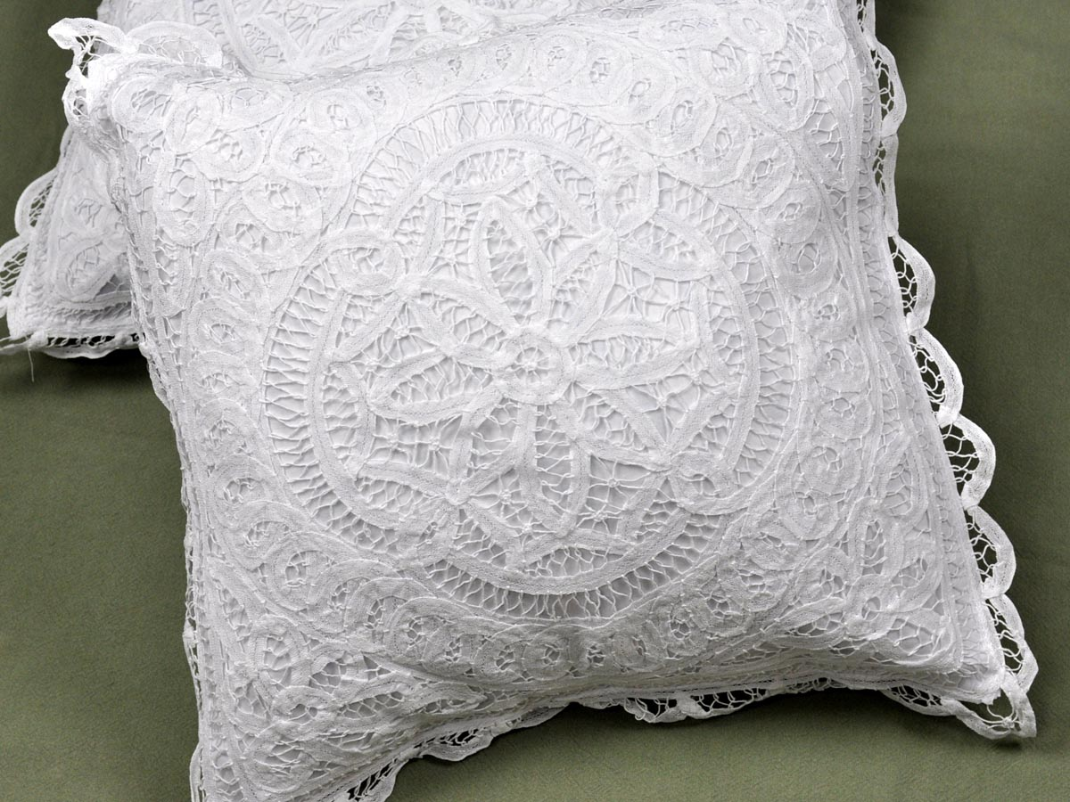 Decorative Pillows With Lace : Pair of Throw Pillow Covers with Full Battenburg Lace