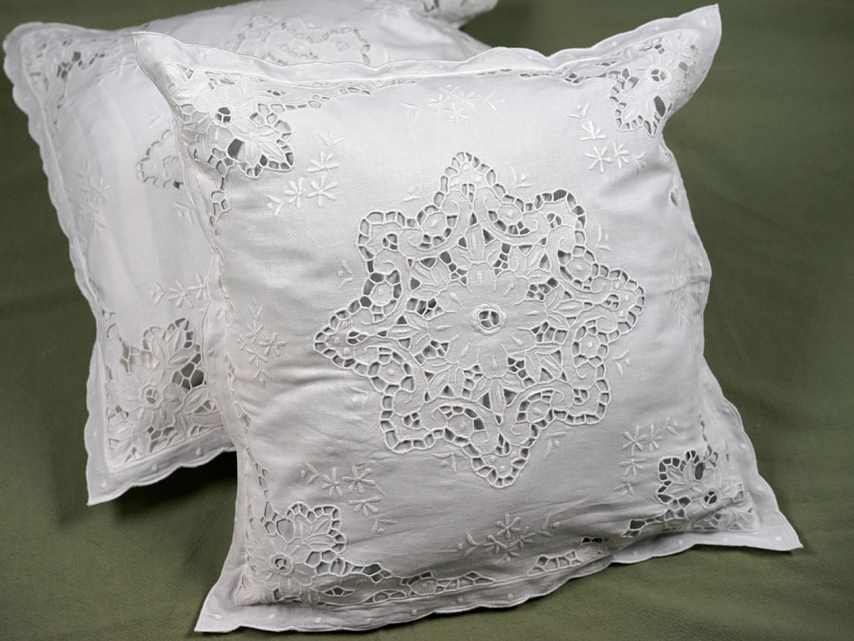Pair of Throw Pillow Covers with Floral Snowflake Cutwork