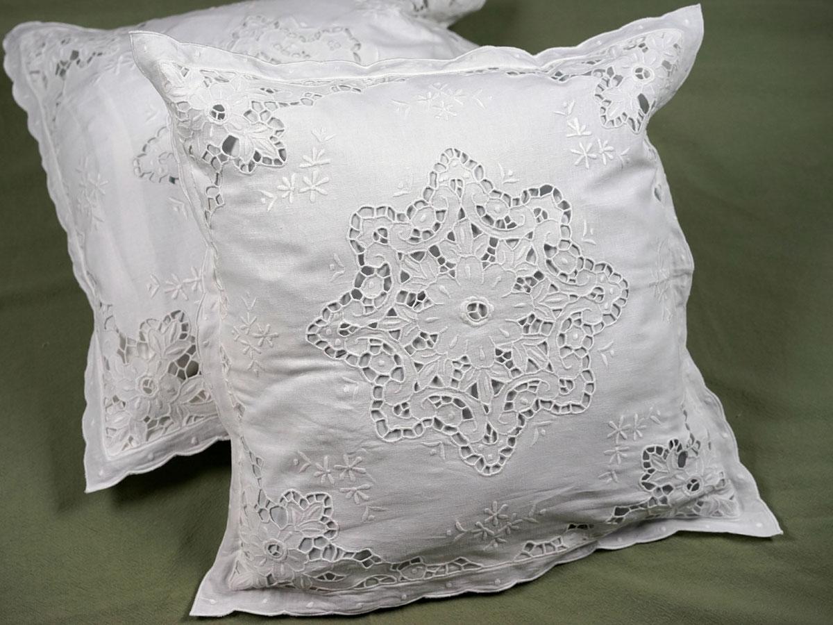 "New White Battenburg Lace Square Pillow Sham 16 X 16"" Elegance Cotton"