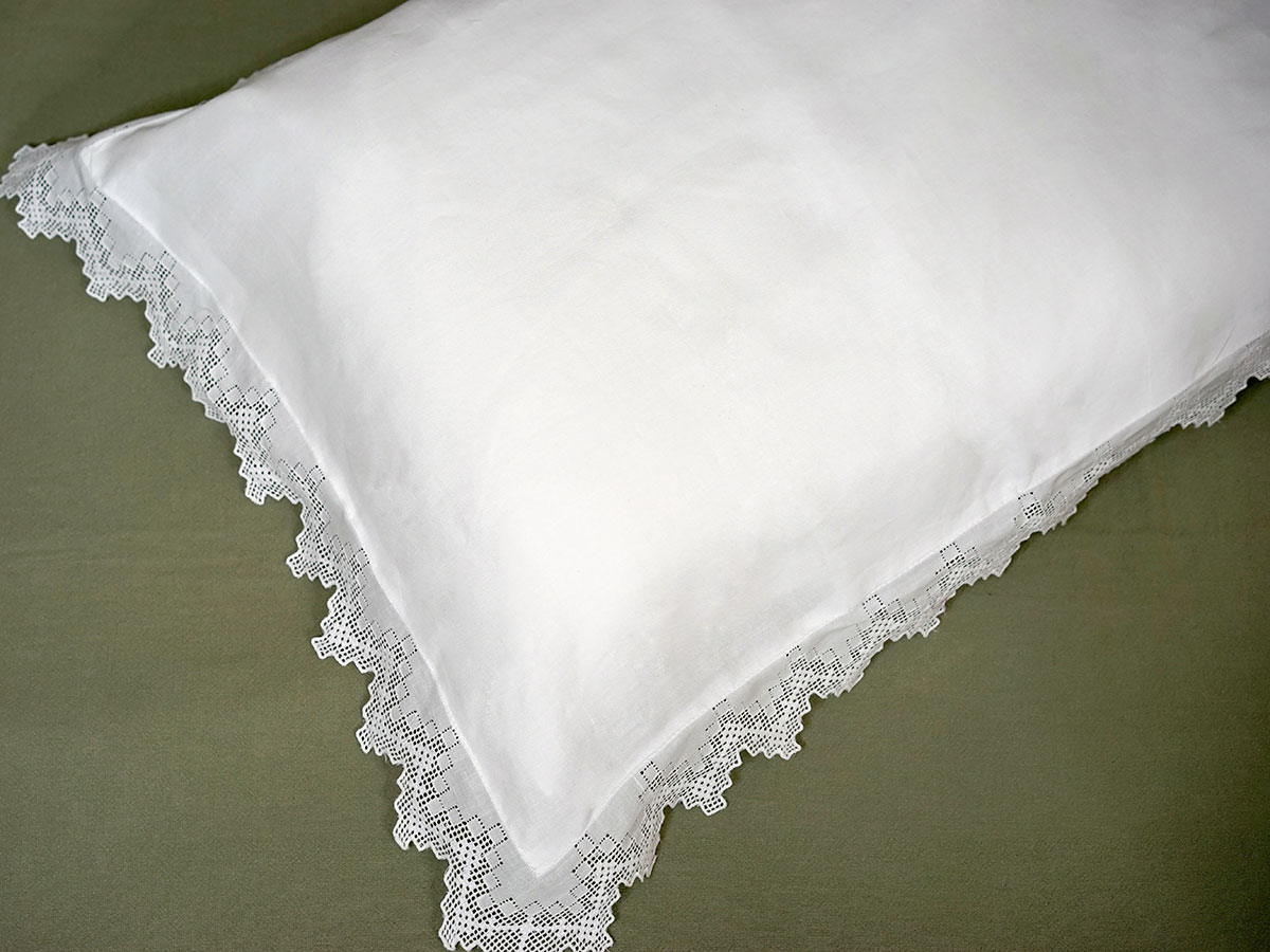 Pair of White Linen Cross Stitch Pillow Shams