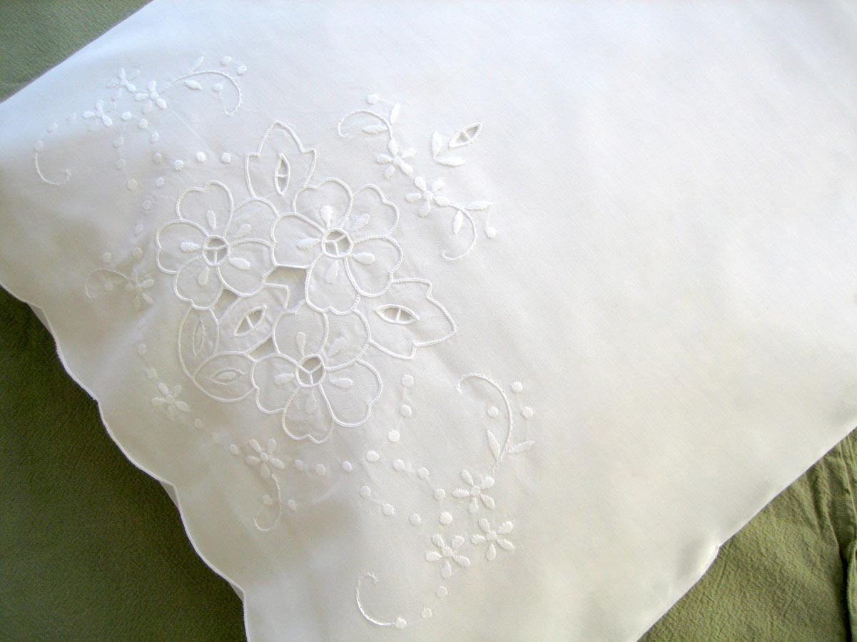 Pair of Linen Pillowcases with Cutwork of Petunias