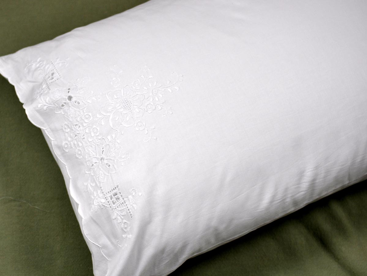 Pair of Linen Pillowcases with Floral Cutwork
