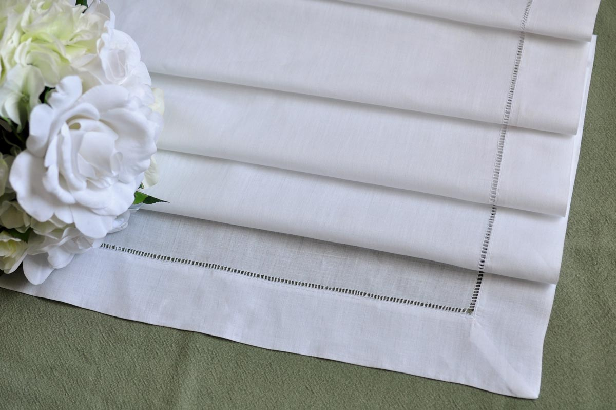 "White Hemstitched Linen Table Runner 18""X36"""