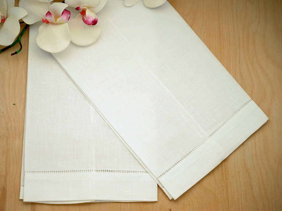 Set of 4 Ivory Linen Hand Towels with Hemstitched Edges