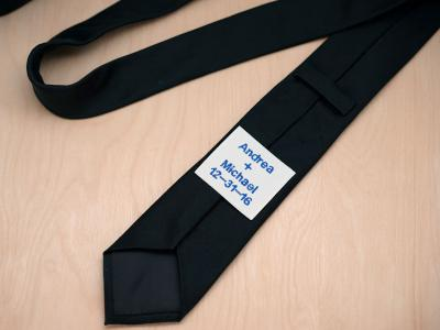 Personalized Tie Label w/Names And Date