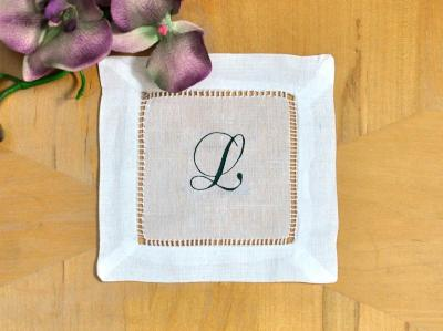 Set of 4 Monogrammed Linen Cocktail Napkins 1 Initial Font A