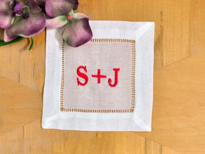 Set of 4 Monogrammed Linen Cocktail Napkins Couples Font P