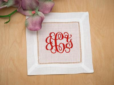 Set of 4 Monogrammed Linen Cocktail Napkins 3 Initial Font G