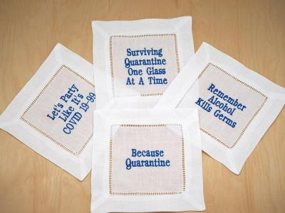 Set of 4 Mixed Funny Quarantine Cocktail Napkins Font H