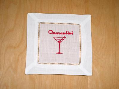 Set of 4 Quarantini Cocktail Napkins