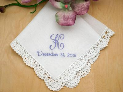 Monogrammed Wedding Hankie w/ 1 Initial And Date - Font J
