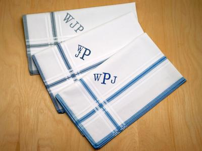 Set of 3 Mixed Mens Striped Monogrammed Hankies Font R