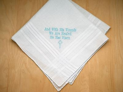 Personalized Up To 3 Lines Easter Hankie w/ Cross Font H