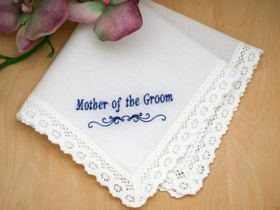 Mother of the Groom Personalized Handkerchief - Font I