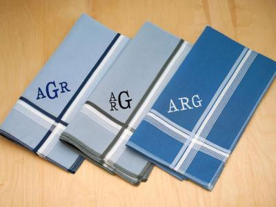 Set of 3 Striped Personalized Mens Handkerchiefs - Font R