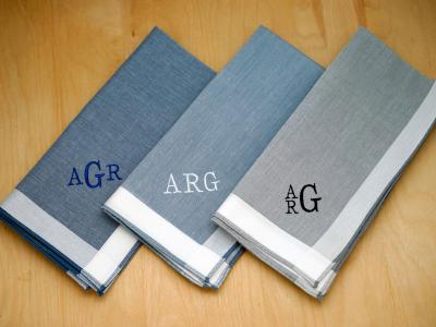 Set of 3 Monogrammed Woven Band Hankies Font R