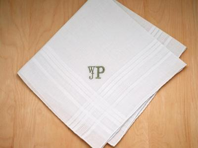 Mens Monogrammed Wedding Hankie w/ 3 Initials - Font R Stacked