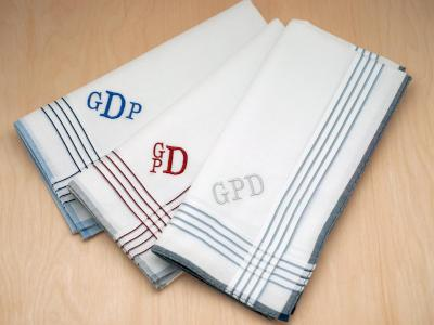 Set Of 3 Orted White Striped Monogrammed Mens Hankies Font R