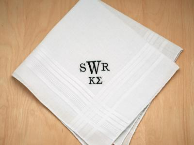 Mens Monogrammed Greek Fraternity Handkerchief