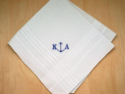 Mens Monogrammed Nautical Anchor Handkerchief- Font R