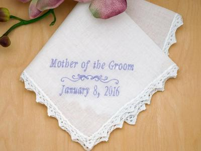 Mother of the Groom Personalized Handkerchief w/Date - Font I