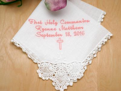 Personalize Up To 3 Lines Hankie w/ Cross - Font R