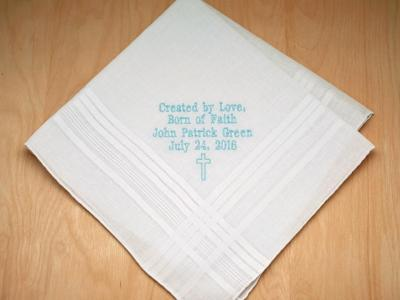 Boys Personalized Up To 3 Lines Hankie w/ Cross Font H