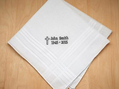 Mens Personalized In Memory Of Hankie w/ Cross Font H
