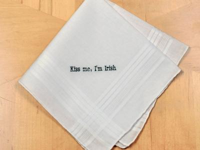 Personalized Up To Four Lines St Patricks Day Mens Hankie Font H