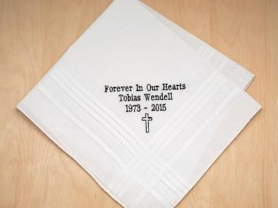Mens Personalized Memorial 3 Lines Hankie w/ Cross Font H