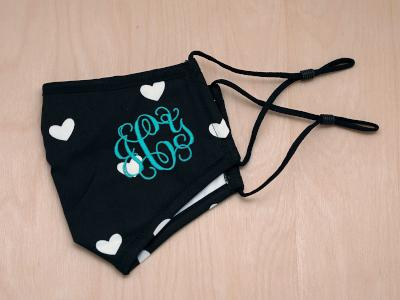Monogrammed Face Mask with White Hearts